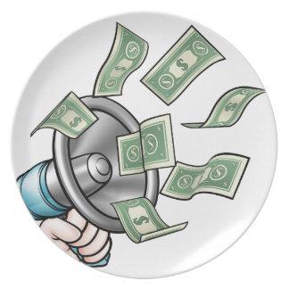 Assiette Concept d'argent de mégaphone