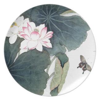 Assiette Cool asiatique d'art de papillon de fleur de rose