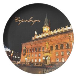 Assiette Copenhague, Danemark la nuit