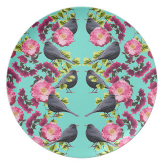 Assiette Copie bleue symétrique d'oiseau par