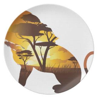 Assiette Coucher du soleil africain avec le lion