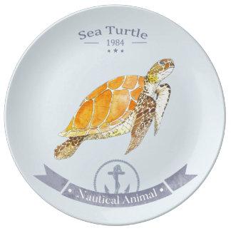 Assiette de Porcelaine Tartaruga-Marinha   Sea