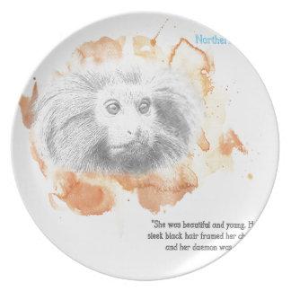 Assiette Démon d'or de singe - ses matériaux foncés