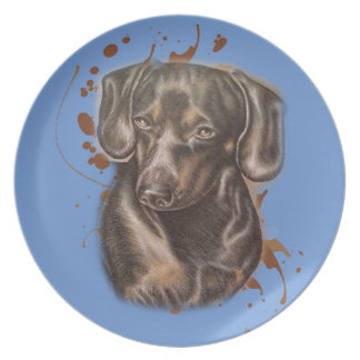Assiette Dessin d'art et de peinture de chien de teckel