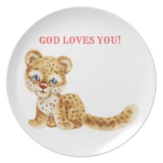 Assiette Dieu vous aime bébé sauvage de guépard de jungle