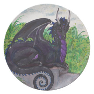Assiette Dragon noir pourpre