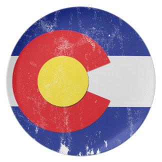 Assiette Drapeau du Colorado affligé