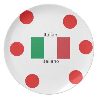 Assiette Drapeau italien et conception de langue de