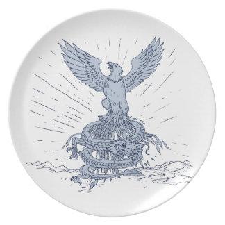 Assiette Eagle et dessin de montagnes de dragon