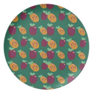 Assiette Édition peinte à la main d'ananases de conception