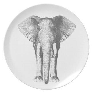 Assiette Éléphant en noir et blanc