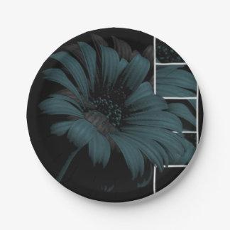 Assiette en papier de 17,8 cm Fleur Bleu