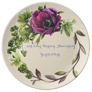 Assiette En Porcelaine 25ème Plat de porcelaine d'anniversaire de mariage