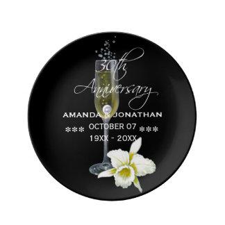 Assiette En Porcelaine 30ème Anniversaire de mariage de perle