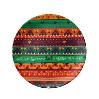 Assiette En Porcelaine Africain coloré aucune typographie d'inquiétudes