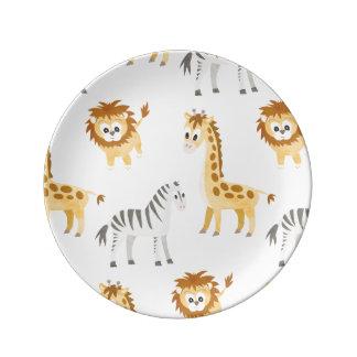 Assiette En Porcelaine Animaux mignons de bébé de lion et de girafe de