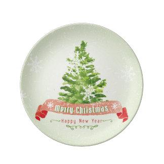 Assiette En Porcelaine Aquarelle de Noël | - arbre de bonne année