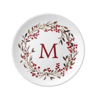 Assiette En Porcelaine Aquarelle de Noël | - guirlande de fête de baies