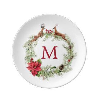 Assiette En Porcelaine Aquarelle de Noël   - guirlande de fête de renne
