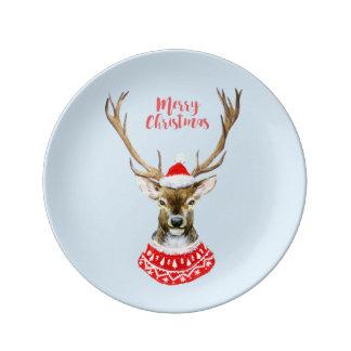 Assiette En Porcelaine Aquarelle de Noël   - renne bleu de Père Noël