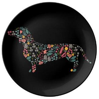 Assiette En Porcelaine Art floral d'aquarelle de motif de chien de