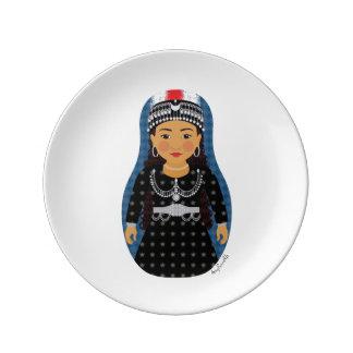 """Assiette En Porcelaine Assyrien Matryoshka 8,5"""" plat de porcelaine"""