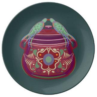Assiette En Porcelaine Baisers du plat de porcelaine d'oiseaux