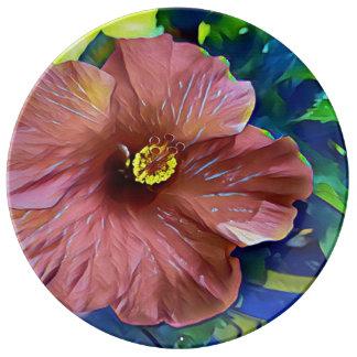 Assiette En Porcelaine Belles fleurs artistiques de ketmie