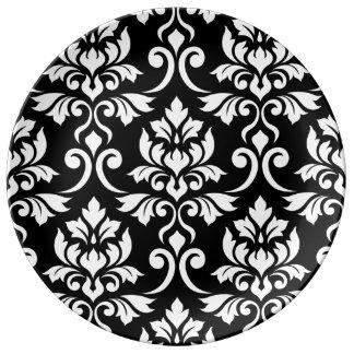 Assiette En Porcelaine Blanc de motif d'atterrisseur de damassé de