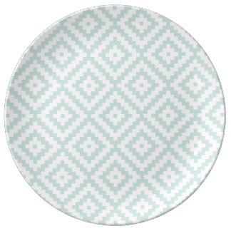 Assiette En Porcelaine Bleu et poids aztèques II d'oeufs de canard de Ptn