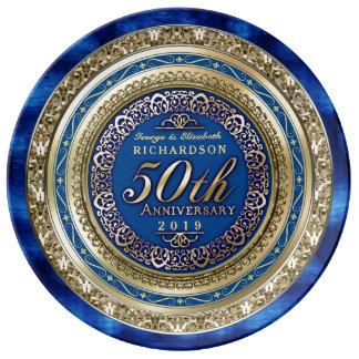 Assiette En Porcelaine Bleu royal d'or de Faux d'anniversaire de mariage