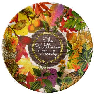 Assiette En Porcelaine Bois de cru de collage de feuille d'automne