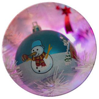 Assiette En Porcelaine Bonhomme de neige - boules de Noël - Joyeux Noël