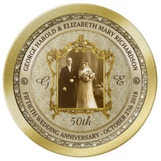 Assiette En Porcelaine Cadre classique de photo d'anniversaire de mariage