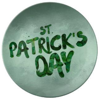 Assiette En Porcelaine Celtic irlandais de trèfle de vert du jour de St