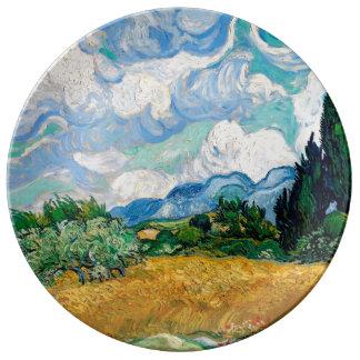 Assiette En Porcelaine Champ de blé avec des cyprès par Vincent van Gogh