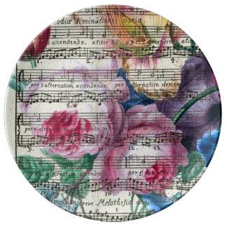Assiette En Porcelaine Chansons florales
