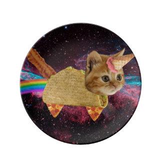 Assiette En Porcelaine Chat de licorne - chat de taco - chat de l'espace
