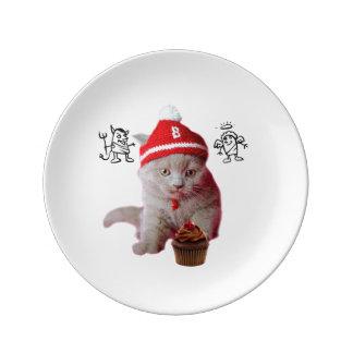 Assiette En Porcelaine Chat de petit gâteau - ange et démon - croquis de