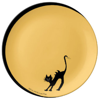 Assiette En Porcelaine Chat noir de courbement et pleine lune