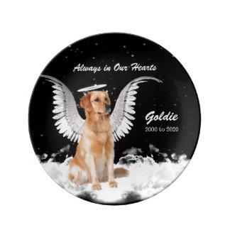 Assiette En Porcelaine Chien commémoratif d'ange d'animal familier -