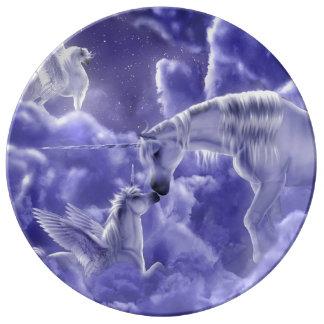 Assiette En Porcelaine Ciel nocturne magique et mystique de licornes