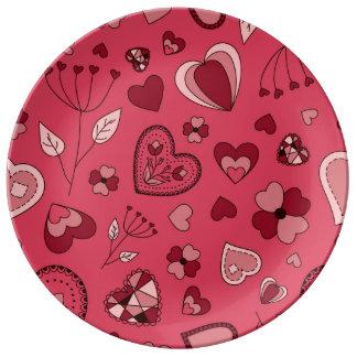 Assiette En Porcelaine Coeurs roses et plat décoratif de porcelaine de