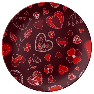 Assiette En Porcelaine Coeurs rouges et plat décoratif de porcelaine de