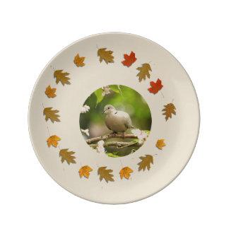 Assiette En Porcelaine Colombe de cou d'anneau