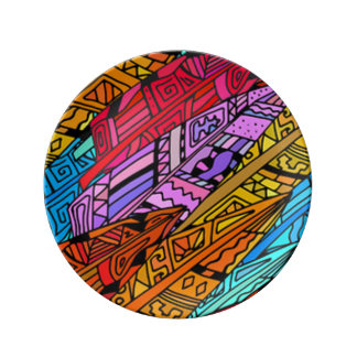 Assiette En Porcelaine Conception africaine colorée