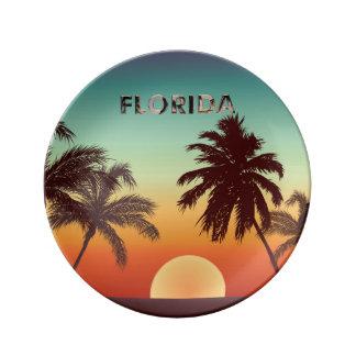 Assiette En Porcelaine Coucher du soleil de la Floride
