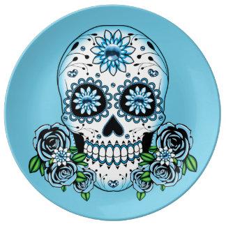 Assiette En Porcelaine Crâne bleu de sucre
