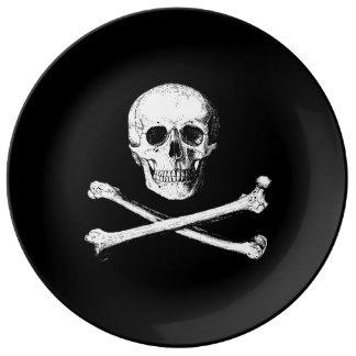 Assiette En Porcelaine Crâne et plat décoratif d'os croisés