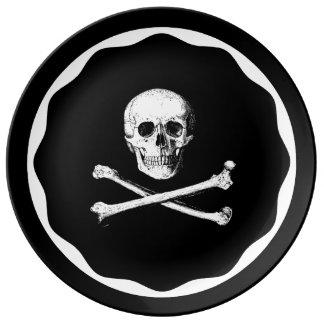 Assiette En Porcelaine Crâne et plat d'os croisés